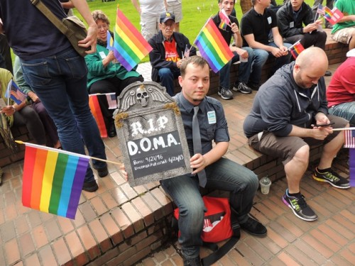 Portland celebrated the U.S. Supreme Court's decision to strike down Section 3 of DOMA last month with a downtown rally. Photo by Julie Cortez.