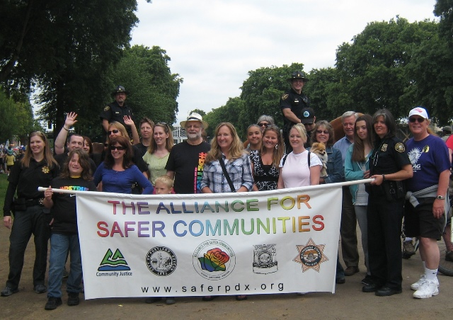 Danni/y Rosen (front right) has been involved with the Alliance for Safer Communities (formerly known as the Sexual Minorities Round Table) since the mid-1990s and currently serves as the citizen co-chair. Submitted photo.